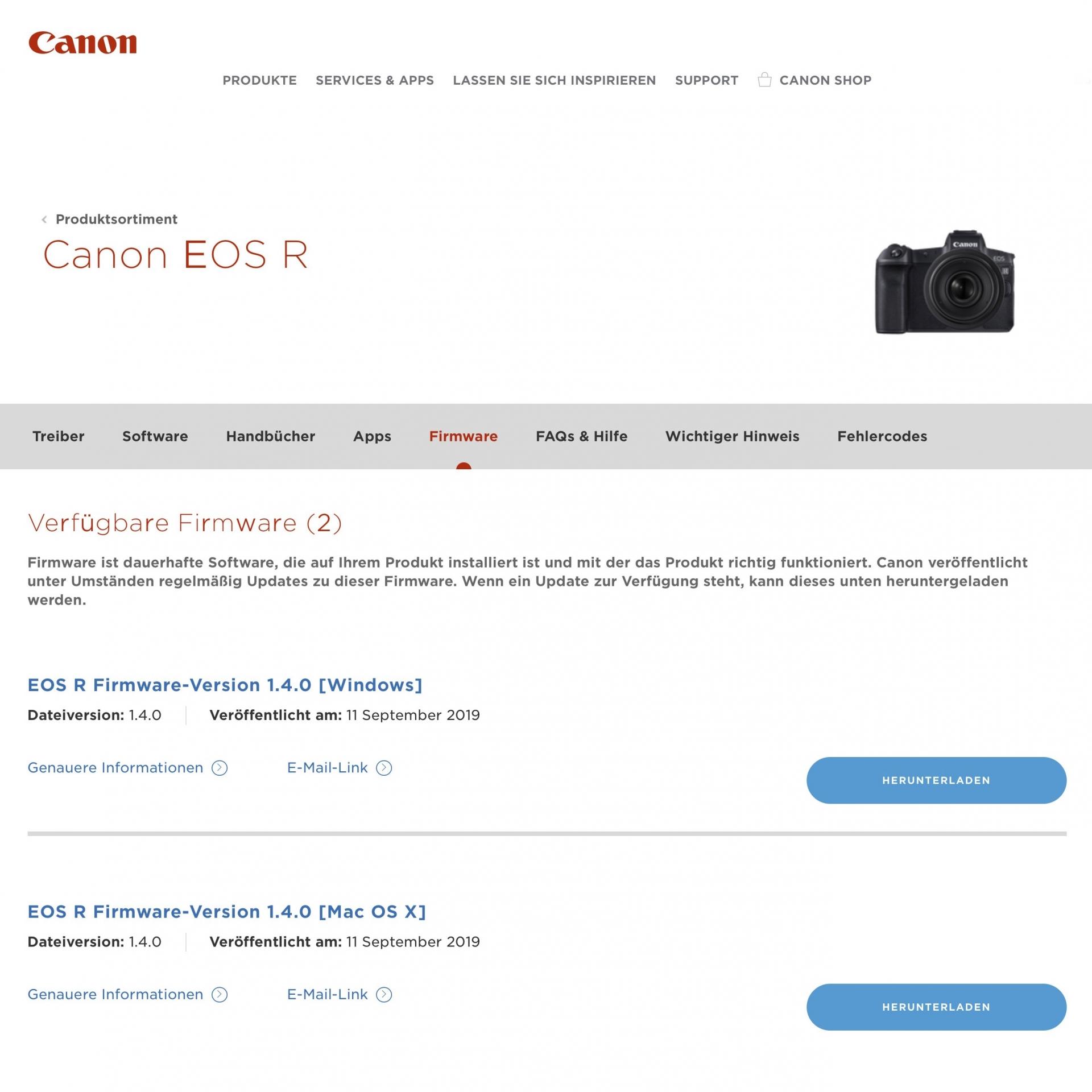 Firmware-Update, EOS R
