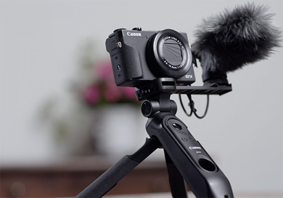 PowerShot G7 X Mark III, Zubehör, Griffstativ, externes Mikrofon, HG-100TBR, DM-E100